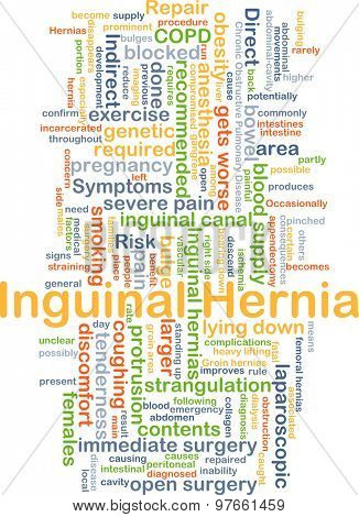 Background concept wordcloud illustration of inguinal hernia