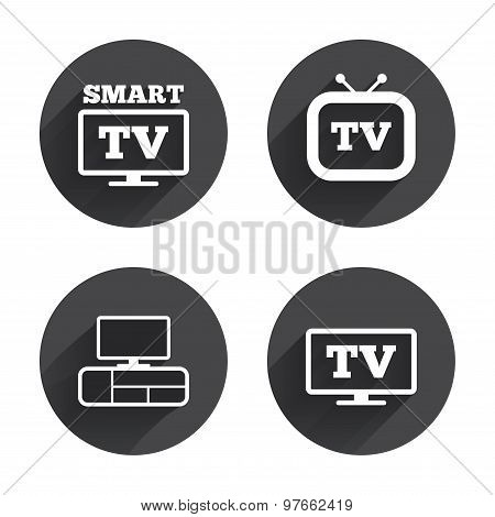 Smart TV mode icon. Widescreen symbol. Retro television and TV table signs. Circles buttons with long flat shadow. Vector poster