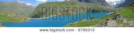 Scenic View Of The Gloriettes Lake And Estaube Circus Mountains, The Pyrenees, France, Panorama