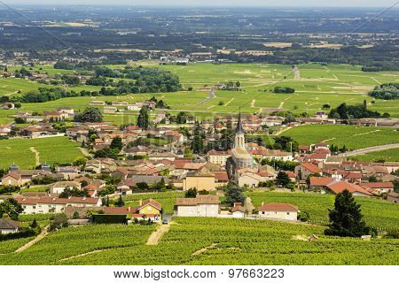 View Of Fleurie Village And Vineyards, Beaujolais, France