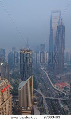 Smog In City Center Of Shanghai