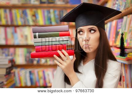 Funny  Student with Graduation Cap Holding Books