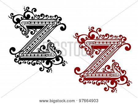 Calligraphic uppercase letter Z with flourishes