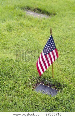 flag on graveside