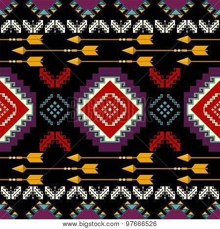 Ethnic Seamless Pattern In Native Style.vector Eps 8 Background .