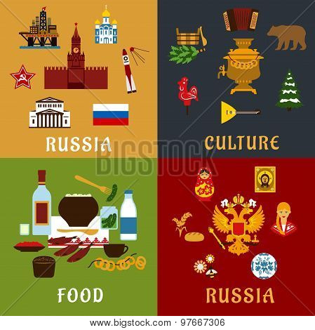 Russian travel and culture flat icons