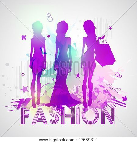 Creative illustration of young fashionable girls in beautiful hot dress with shopping bags on stylish background.
