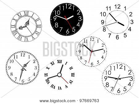 Set of isolated clock dials
