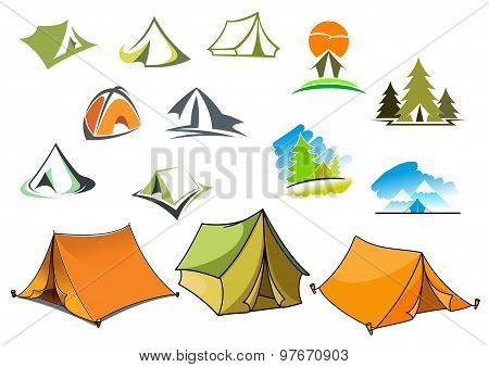 Camping symbols with tents and nature