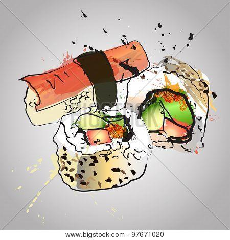 Set Of Seafood,sushi And Maki With Color Splash