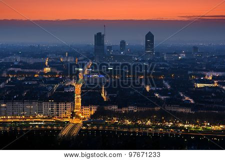 Early Morning, Cityscape And Streelights, Lyon, France