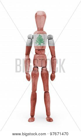 Wood Figure Mannequin With Flag Bodypaint - Lebanon