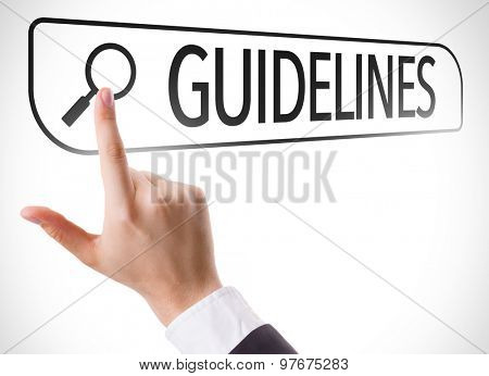 Guidelines written in search bar on virtual screen
