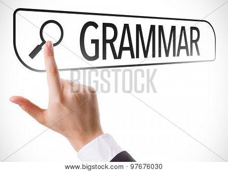 Grammar written in search bar on virtual screen