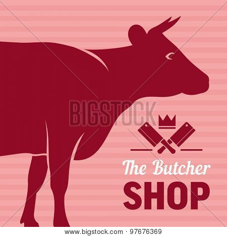 Butcher shop sign with silhouette of cow, vector background