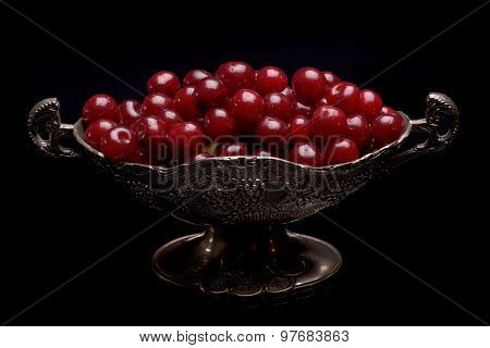 Sour Cherry In A Silver Bowl