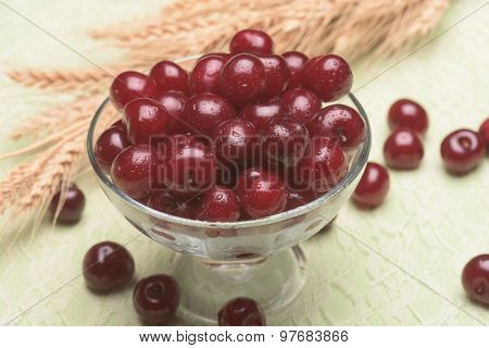 Sour Cherry In A Glass Bowl
