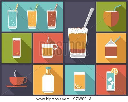 Non-alcoholic drinks vector illustration. Horizontal flat design illustration with a variety of soft drinks and non-alcoholic beverages