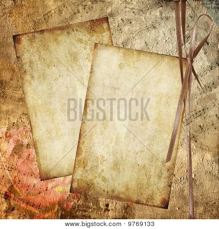 Romantic background in retro style with silhouette of rose, old paper and musical notes