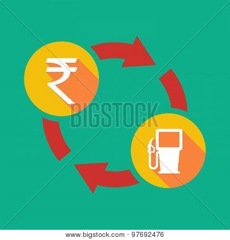 Exchange Sign With A  Rupee Sign And A Gas Station