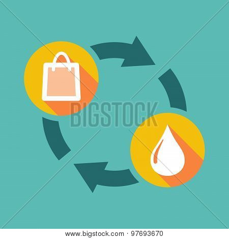 Exchange Sign With A Shopping Bag And A Fuel Drop