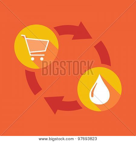 Exchange Sign With A Shopping Cart And A Fuel Drop