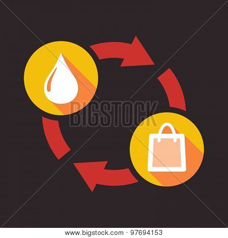Exchange Sign With A Fuel Drop And A Shopping Bag