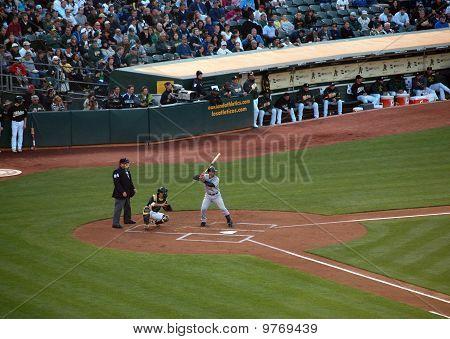 Yankees Jorge Posada Stands In The Batters Box With Kurt Suzuki Catching