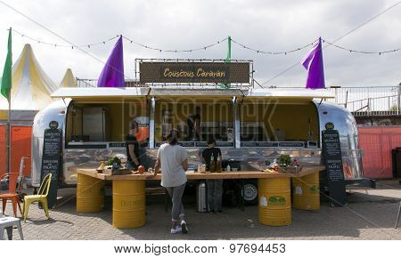 Airstream Caravan In Use As A Food Truck Selling Couscous In Amsterdam