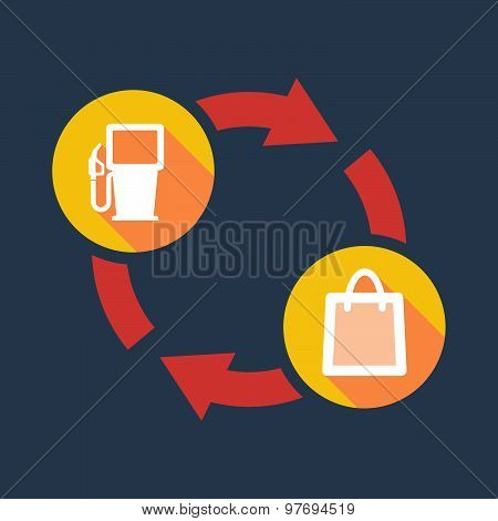 Exchange Sign With A Gas Pump And A Shopping Bag