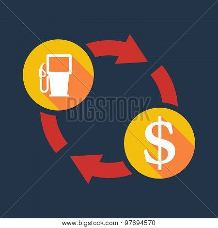 Exchange Sign With A Gas Pump And A Dollar Sign