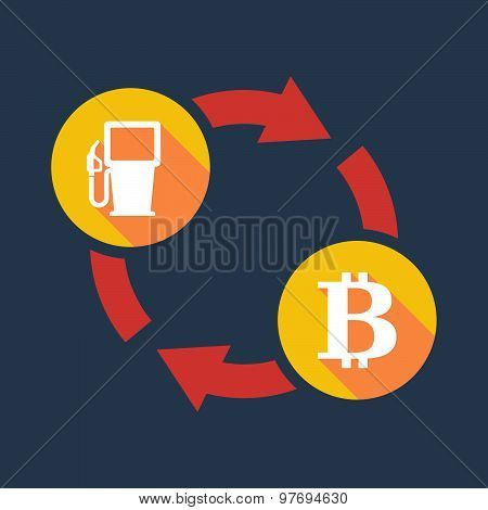 Exchange Sign With A Gas Pump And A Bit Coin Sign