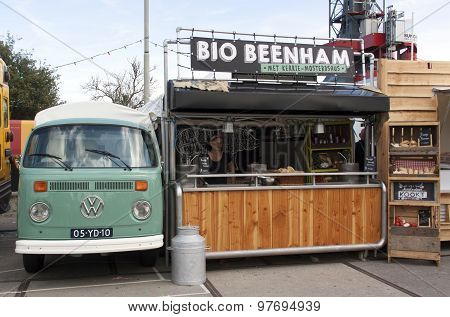 Volkswagen T1 Food Truck Selling Ham In Amsterdam