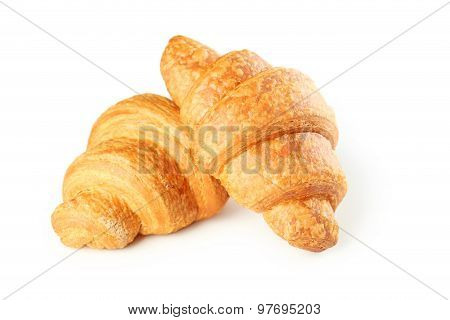 Tasty Croissants on a white background, close up poster
