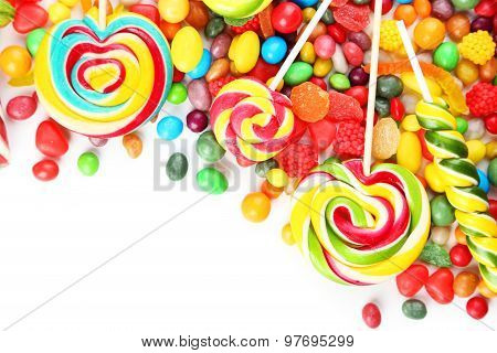Different Fruit Candies On White Background