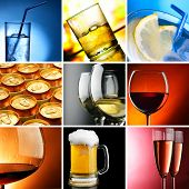 Set of different alcohol drinks photos square crop poster