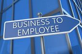 Business to Employee - illustration with street sign in front of office building. poster