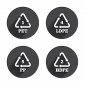PET 1, Ld-pe 4, PP 5 and Hd-pe 2 icons. High-density Polyethylene terephthalate sign. Recycling symbol. Circles buttons with long flat shadow. Vector poster