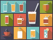 Non-alcoholic drinks vector illustration. Horizontal flat design illustration with a variety of soft drinks and non-alcoholic beverages poster