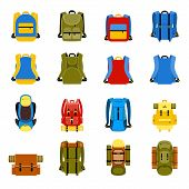 Travel backpack, camping rucksack and school bag icons. Travel hiking, tourism and luggage vector illustration poster