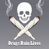 Vector anti drug poster. Danger narcotic and marijuana, warning marijuana illustration poster