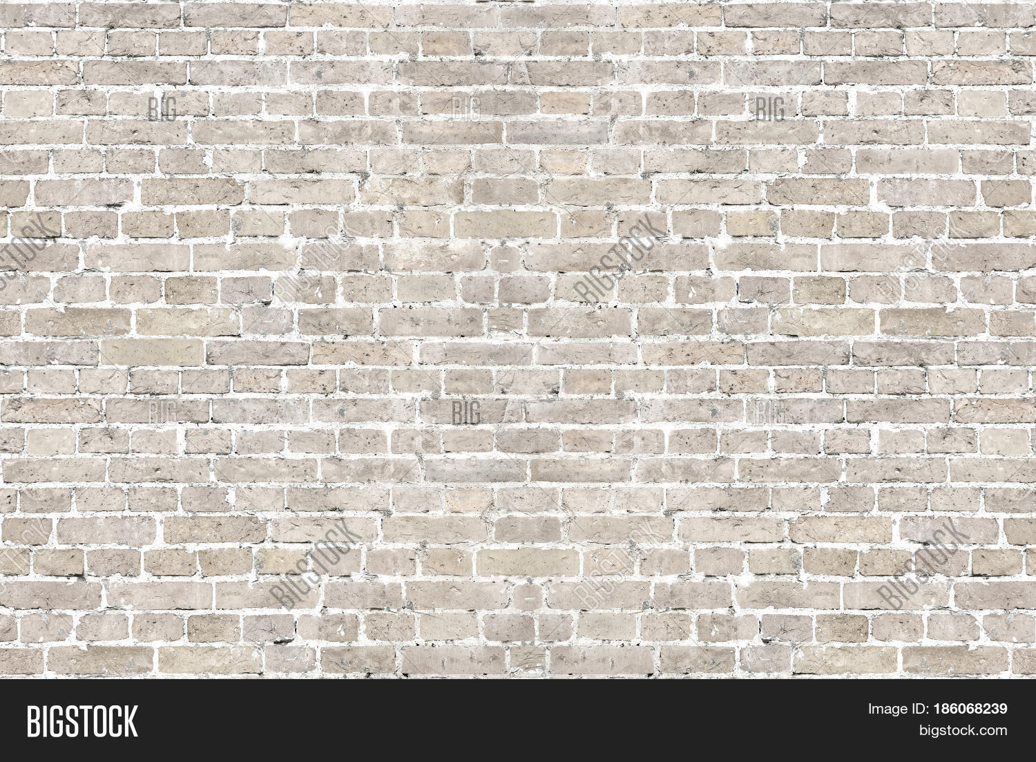 Vintage whitewashed brick wall horizontal background texture. Home and  office design backdrop in modern style