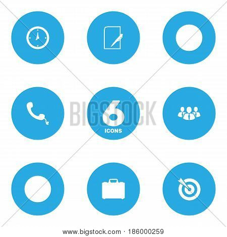 Set Of 6 Business Icons Set.Collection Of Colleagues, Telephone, Pen And Other Elements.