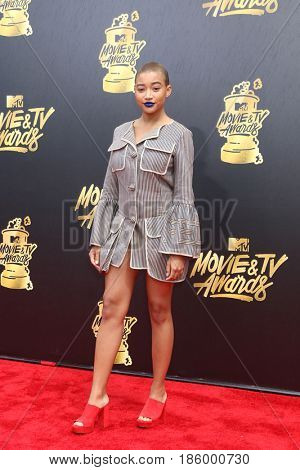 LOS ANGELES - MAY 7:  Amandla Stenberg at the MTV Movie and Television Awards on the Shrine Auditorium on May 7, 2017 in Los Angeles, CA