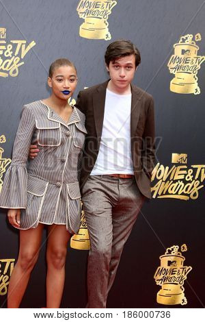 LOS ANGELES - MAY 7:  Amandla Stenberg, Nick Robinson at the MTV Movie and Television Awards on the Shrine Auditorium on May 7, 2017 in Los Angeles, CA