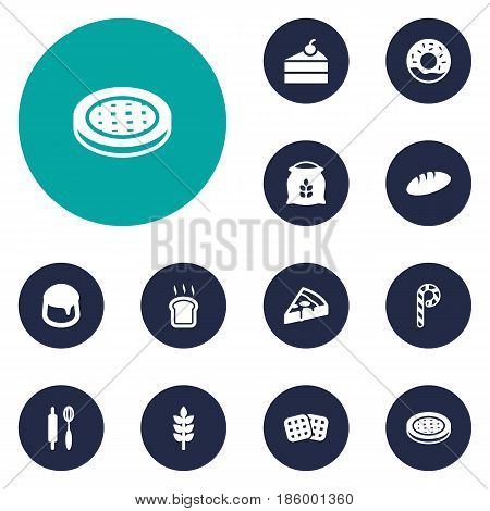 Set Of 12  Icons Set.Collection Of Sack, Sweetmeat, Loaf And Other Elements.