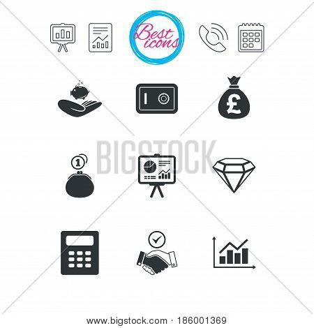 Presentation, report and calendar signs. Money, cash and finance icons. Handshake, safe and calculator signs. Chart, safe and jewelry symbols. Classic simple flat web icons. Vector