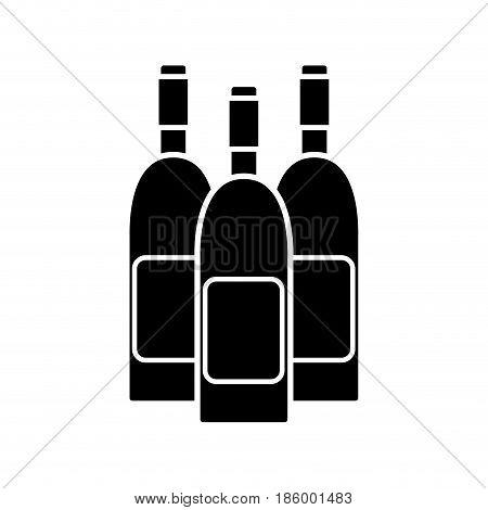 contour wine bottles taste beverage, vector illustration design