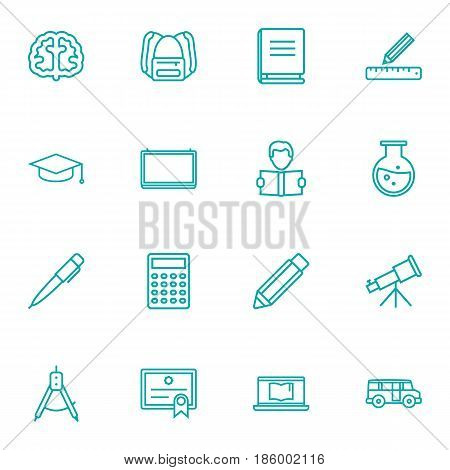 Set Of 16 Education Outline Icons Set.Collection Of Compass, Test Tube, School Board And Other Elements.