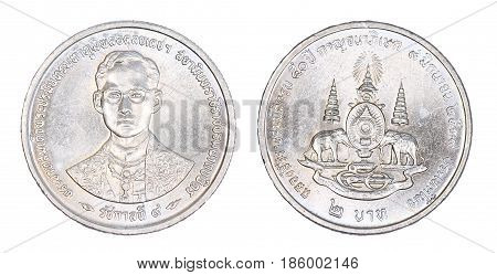 Thailand 2 baht coin (1996) isolated on white background.